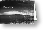 Plane Photo Greeting Cards - Distressed Spitfire Greeting Card by Meirion Matthias