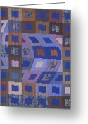 Blue Tapestries - Textiles Greeting Cards - Disturbances 2 Greeting Card by Marilyn Henrion