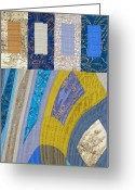 Blue Tapestries - Textiles Greeting Cards - Disturbances 5 Greeting Card by Marilyn Henrion