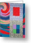 Reds Tapestries - Textiles Greeting Cards - Disturbances 7 Greeting Card by Marilyn Henrion