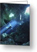 Natural Light Greeting Cards - Diver Silhouetted In Sunrays Of Cenote Greeting Card by Karen Doody