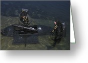 Special Delivery Greeting Cards - Divers Load Equipment Into Their Seal Greeting Card by Michael Wood