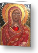 Sacred Feminine Greeting Cards - Divine Lady of Presence Greeting Card by Kareen Fellows