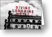 Philly Digital Art Greeting Cards - Divine Lorraine Hotel Marquee Greeting Card by Bill Cannon