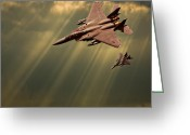 Military Aircraft Greeting Cards - Diving Eagles Greeting Card by Meirion Matthias