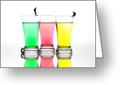 Food Glass Art Greeting Cards - Diving in colorful water Greeting Card by Mingqi Ge