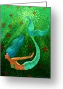 Blue Art Pastels Greeting Cards - Diving Mermaid Fantasy Art Greeting Card by Sue Halstenberg