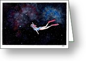 Katchakul Kaewkate Greeting Cards - Diving through Nebulae Greeting Card by Katchakul Kaewkate