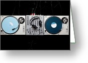 Directly Above Greeting Cards - Dj Equipment Greeting Card by Caspar Benson