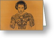 Man Drawings Greeting Cards - Dj Greeting Card by Mon Graffito
