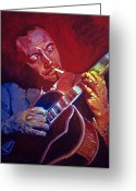 Music Legends Greeting Cards - Django Sweet Lowdown Greeting Card by David Lloyd Glover