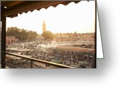 Moroccan Market Greeting Cards - Djemaa El Fina Place Morroco Greeting Card by Paul Viant
