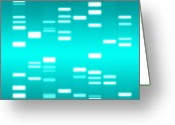 Biology Greeting Cards - DNA cyan Greeting Card by Michael Tompsett
