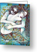 Blue Greeting Cards - Do Not Leave Me Greeting Card by Albena Vatcheva