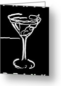 James Bond Greeting Cards - Do Not Panic - Drink Martini - Black Greeting Card by Wingsdomain Art and Photography