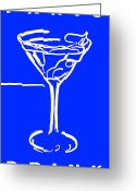 James Bond Greeting Cards - Do Not Panic - Drink Martini - Blue Greeting Card by Wingsdomain Art and Photography