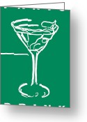 Glasses Greeting Cards - Do Not Panic - Drink Martini - Green Greeting Card by Wingsdomain Art and Photography