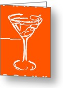 Glasses Greeting Cards - Do Not Panic - Drink Martini - Orange Greeting Card by Wingsdomain Art and Photography
