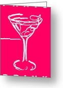 Glasses Greeting Cards - Do Not Panic - Drink Martini - Pink Greeting Card by Wingsdomain Art and Photography