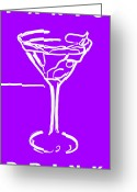 Glasses Greeting Cards - Do Not Panic - Drink Martini - Purple Greeting Card by Wingsdomain Art and Photography