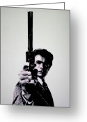 Clint Eastwood Greeting Cards - Do You Feel Lucky Greeting Card by Luis Ludzska