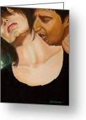 Vampire Painting Greeting Cards - Do you want to live Forever Greeting Card by Al  Molina