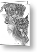 Dobermann Greeting Cards - Dober-Friends - Doberman Pinscher Dogs Portrait Greeting Card by Kelli Swan