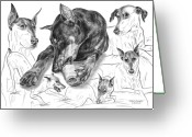 Pencil Drawing Greeting Cards - Dober-Thoughts - Doberman Pinscher Montage Greeting Card by Kelli Swan
