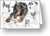 Dobe Greeting Cards - Dober-Thoughts - Doberman Pinscher Montage Print color tinted Greeting Card by Kelli Swan