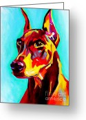 Dawgart Greeting Cards - Doberman - Prince Greeting Card by Alicia VanNoy Call