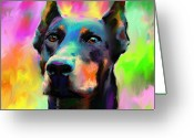 Commissioned Greeting Cards - Doberman Pincher Dog portrait Greeting Card by Svetlana Novikova