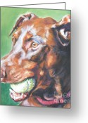 Doberman Greeting Cards - Doberman red Greeting Card by Lee Ann Shepard