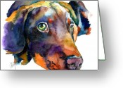Doberman Greeting Cards - Doberman Watercolor Greeting Card by Christy  Freeman