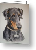 Dobermann Greeting Cards - Dobermann Greeting Card by Keran Sunaski Gilmore