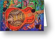 Hawaiian Tapestries - Textiles Greeting Cards - Dobro - Slide Guitar Greeting Card by Sue Duda