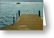 Sports Greeting Cards Greeting Cards - Dock and Speedboat Greeting Card by Steven Ainsworth