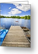 Rowboat Greeting Cards - Dock on lake in summer cottage country Greeting Card by Elena Elisseeva