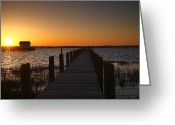 Sunset Framed Prints Photo Greeting Cards - Dock On The Bay Greeting Card by Steven Ainsworth