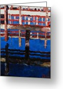 Petoskey Painting Greeting Cards - Dock Reflections Greeting Card by Kurt Anderson 