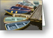 Award Winning Digital Art Greeting Cards - Dock with Colorful Boats Greeting Card by Dennis Orlando