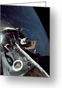 Space Travel Greeting Cards - Docked Apollo 9 Command And Service Greeting Card by Stocktrek Images