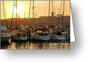 Warm Greeting Cards - Docked Yachts Greeting Card by Carlos Caetano