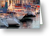 Quiet Greeting Cards - Docked Yatchs Greeting Card by Carlos Caetano