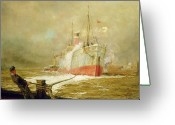 Mooring Greeting Cards - Docking a Cargo Ship Greeting Card by William Lionel Wyllie