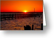 Acrylic Print Greeting Cards - Docks And Sunset Greeting Card by Steven Ainsworth