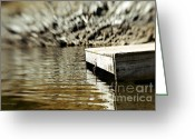 Reflections In Water Greeting Cards - Dockside Shuswap Lake Greeting Card by Jayne Logan