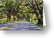 Louisiana Greeting Cards - Docville Oaks Greeting Card by Elaine Hodges