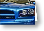 2007 Greeting Cards - Dodge Charger Front Greeting Card by Paul Ward