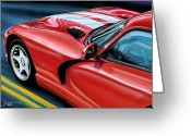 Red Car Greeting Cards - Dodge Viper Coupe Greeting Card by David Kyte
