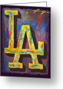 Baseball Mixed Media Greeting Cards - DODGERS Portrait Greeting Card by Dan Haraga